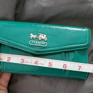 Coach Bags - Coach Green Patent Leather Wallet